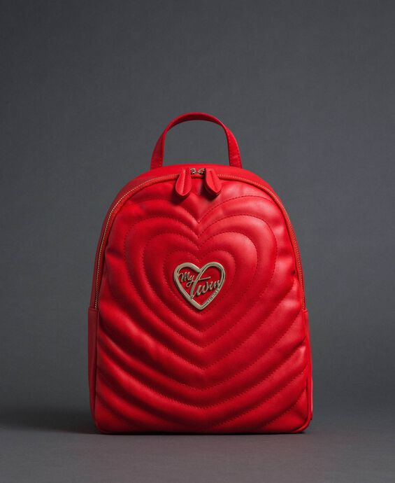Faux leather backpack with quilted hearts