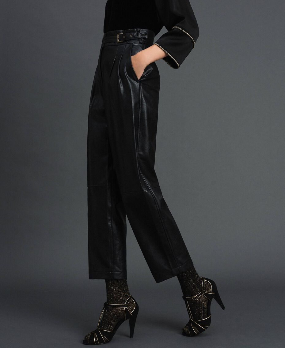 Pantaloni wide fit in similpelle Nero Donna 192TT203C-02