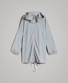 Fleece parka with bezels and rhinestones Light Gray Mélange Woman 191MP2321-0S