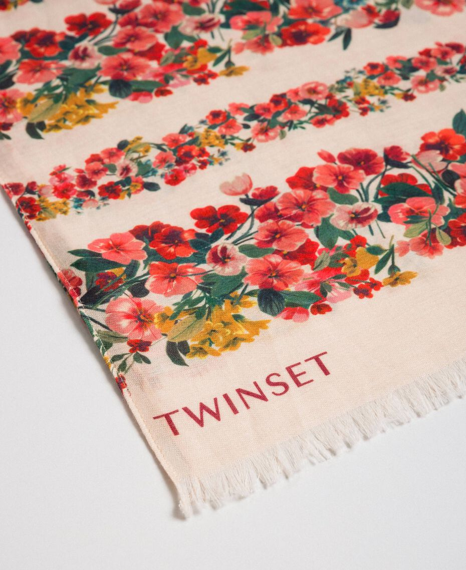 Knit scarf with floral and animal print Leo / Flower Mix Print Woman 192TA441M-02