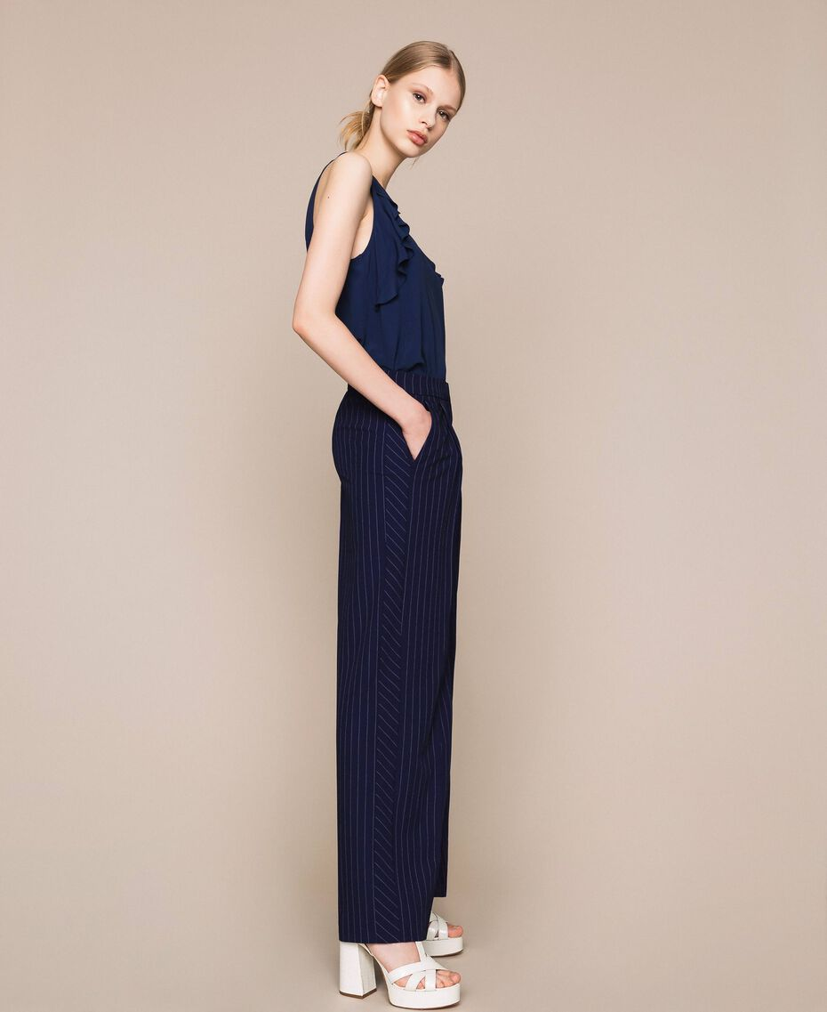 Pin stripe palazzo trousers Midnight Blue Pin Stripe Jacquard Woman 201ST2083-02