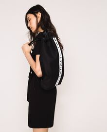 Canvas sackpack with logo Black Woman 201TO8101-0S