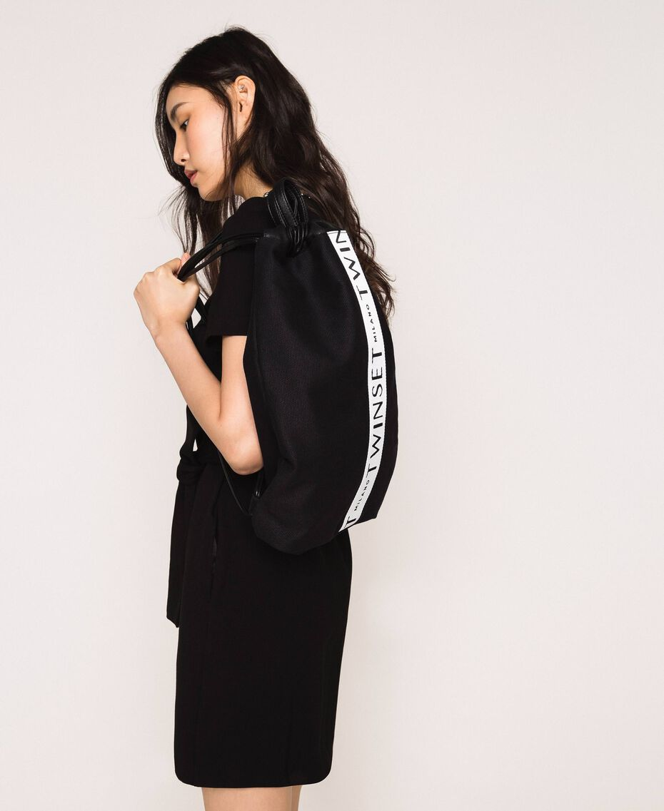 Sac à dos en toile avec logo Noir Femme 201TO8101-0S