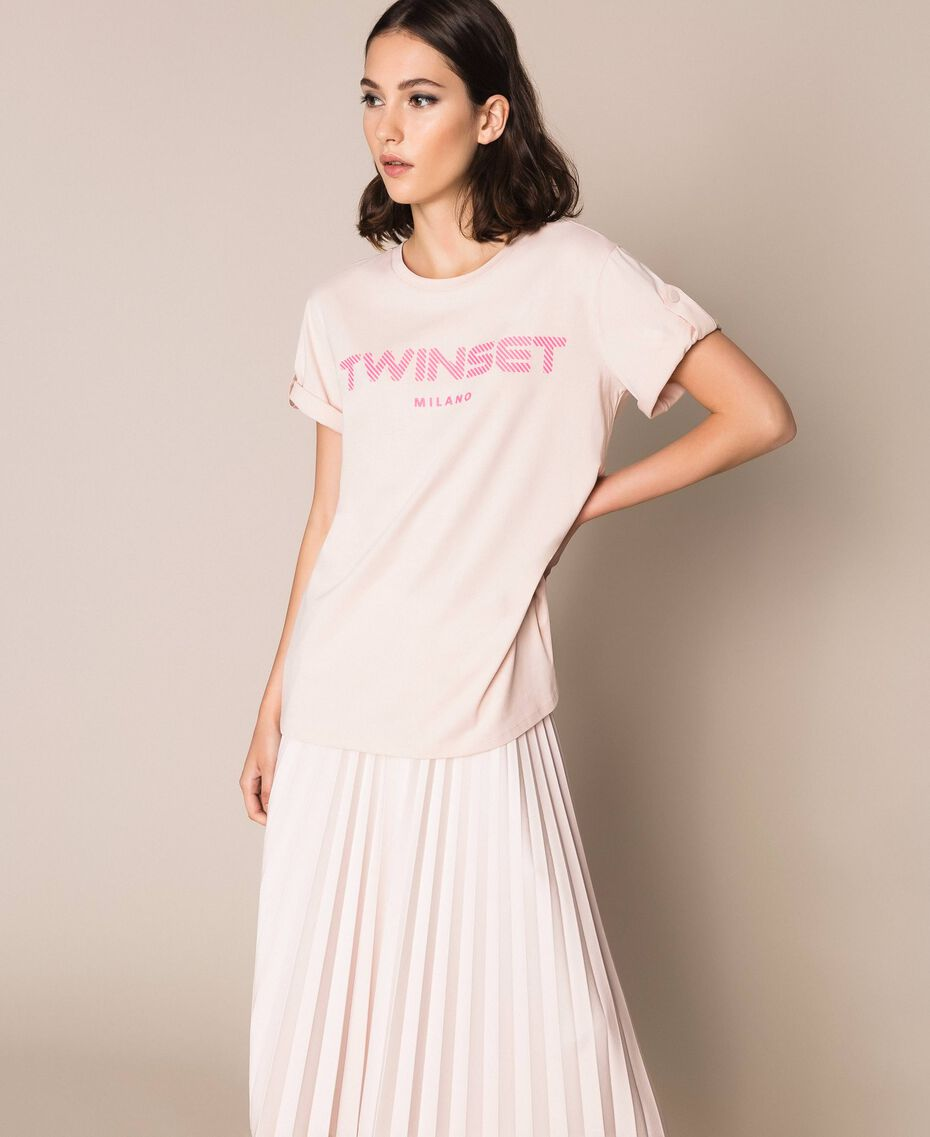 T-shirt with relief logo Bud Pink Woman 201TP2082-01