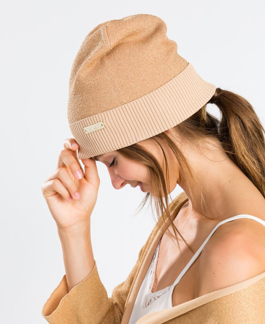 Mütze aus Lurexgarn Dünenrosa Frau LA8LKK-0S