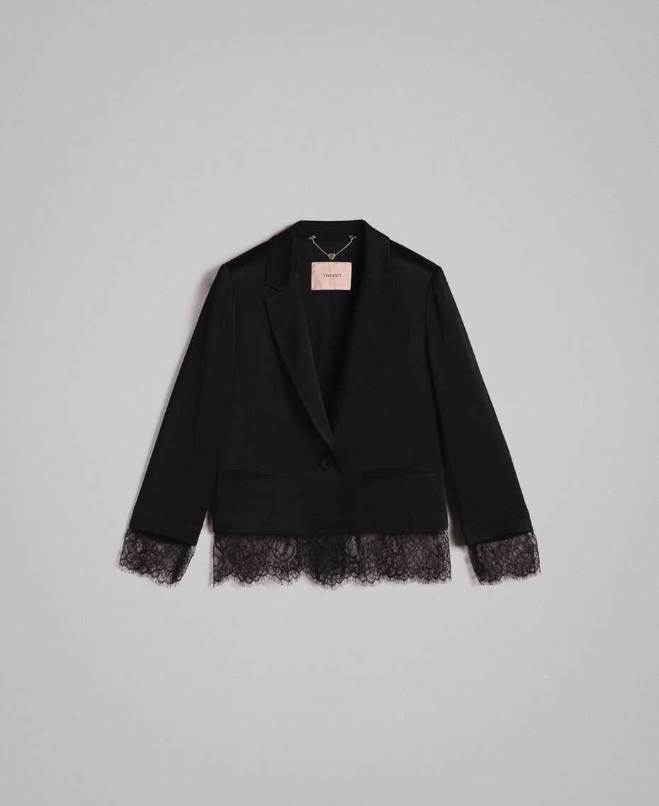 Veste blazer avec dentelle Noir Femme 191TP2731-0S