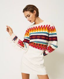 Jacquard wool blend jumper with fringes Creamy White Woman 202MP3220-01