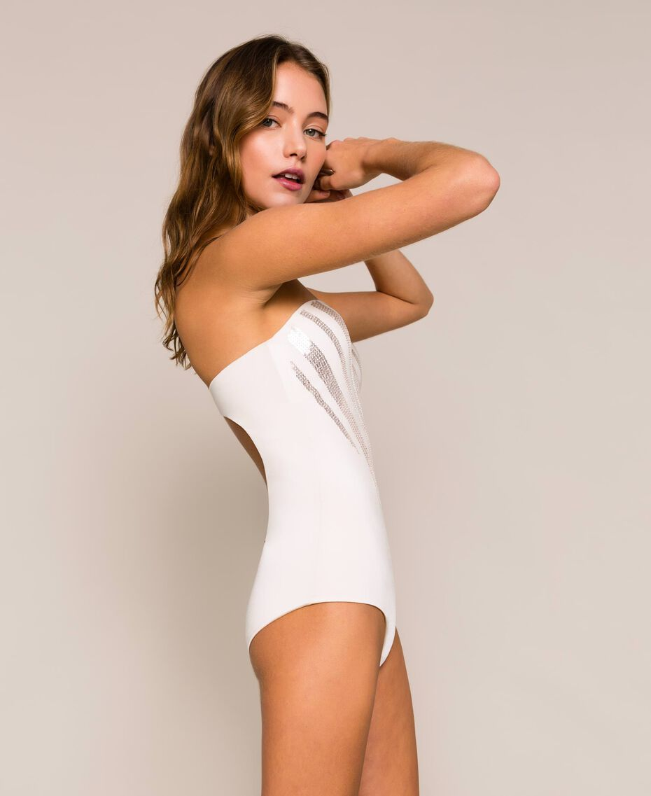"One-piece swimsuit with sequins ""Milkway"" Beige Woman 201LBMCZZ-02"