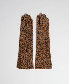 Lange Handschuhe aus Leder mit Animal-Print Animalier-Print Frau 192MA4302-01