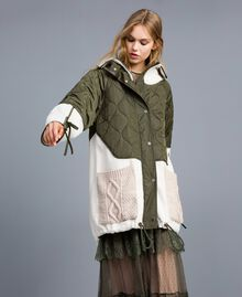 "Nylon and faux shearling parka Bicolour Forest Green / ""Snow"" White Woman TA82BQ-01"
