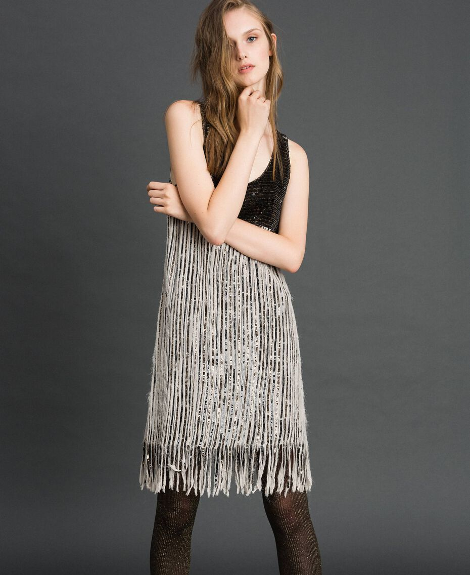 Платье из жоржета с пайетками и бахромой Вышивка Пайетки Темное Золото женщина 192TT2482-01