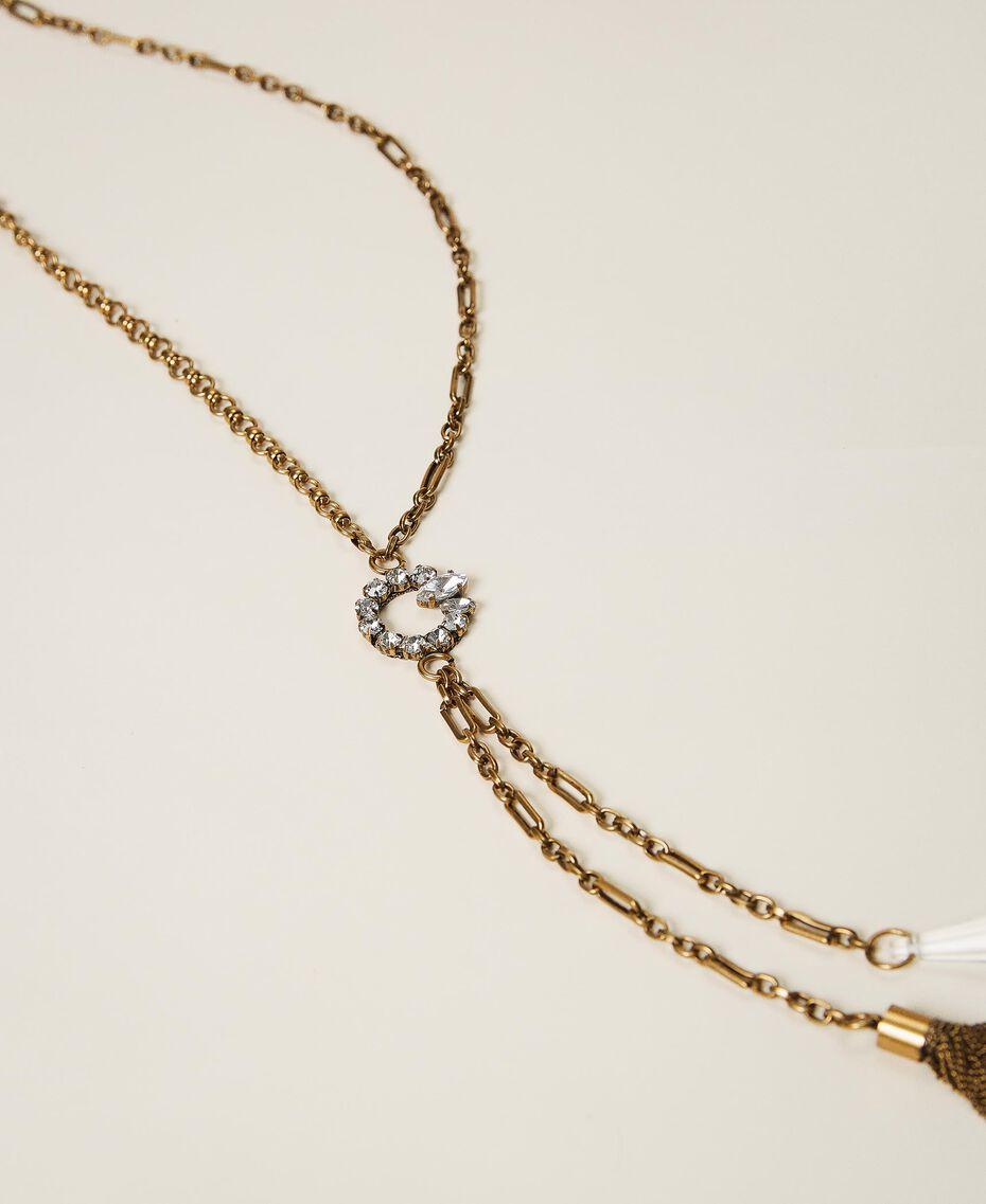 Collier en chaîne avec strass et pendentifs Cristal Femme 202TO5053-02