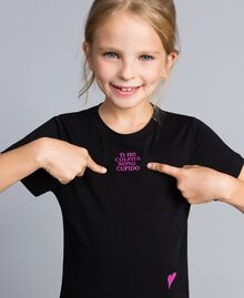 Unisex-T-Shirt für Kinder aus Baumwolle mit Print Schwarz Kind QA8TMP-02