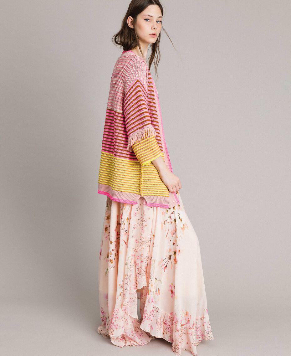 Maxicardigan im Patchwork-Look mit Fransen Streifen Patchwork Pink / Gelb Frau 191TP3310-02