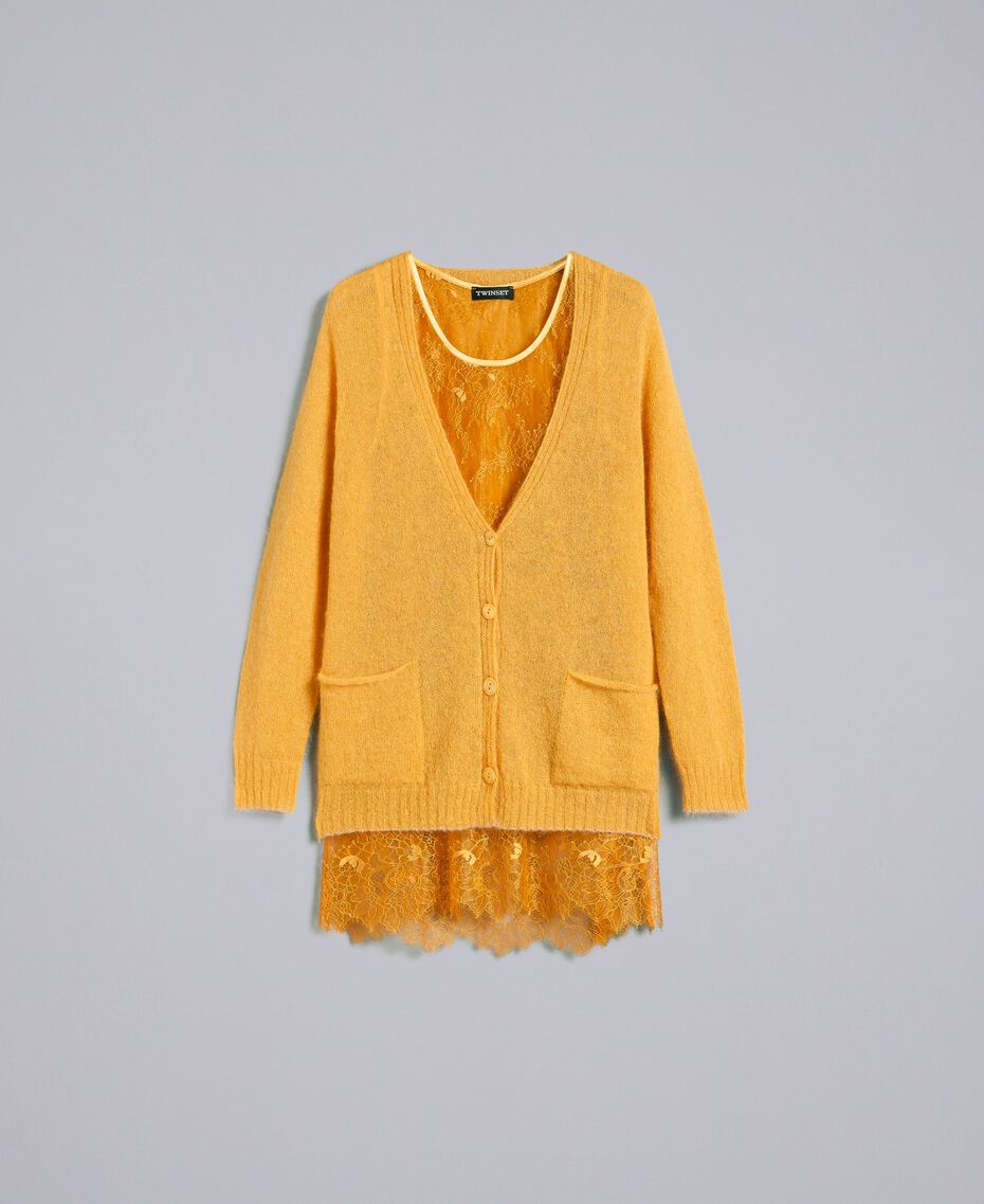 Cardigan in mohair con top in pizzo Brandy Donna PA836D-0S