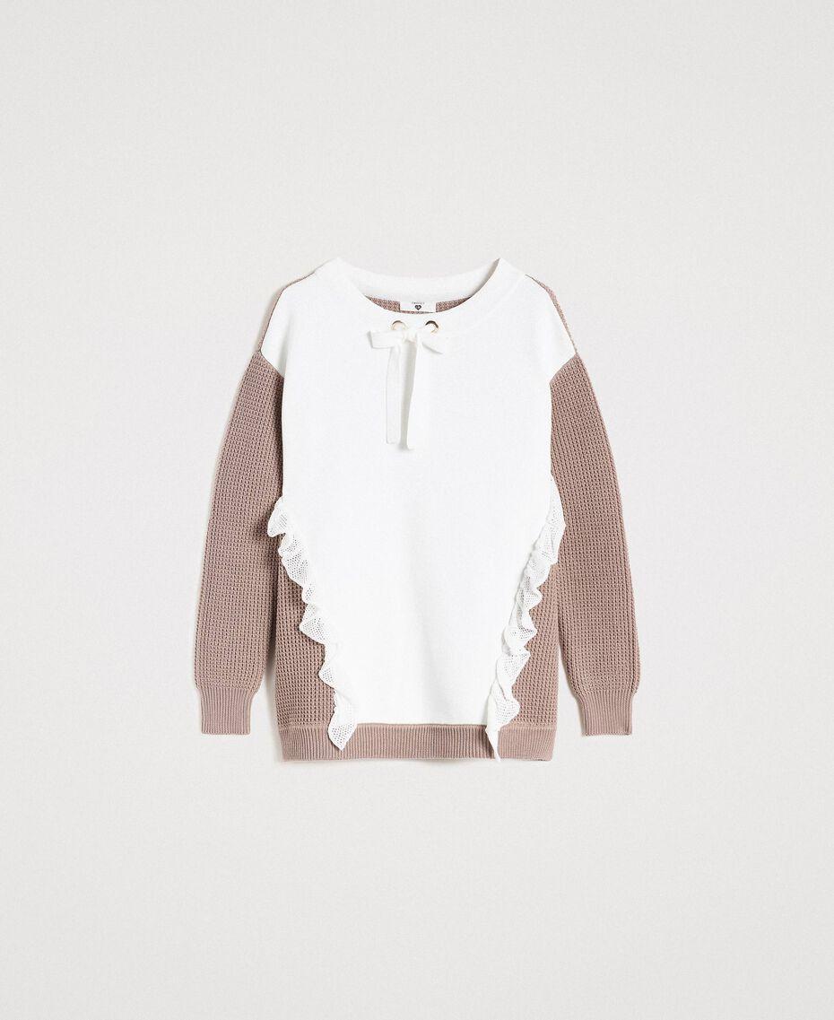 """Maxi maglia con volants Bicolore Bianco Ottico / Grigio """"Grey Dust"""" Donna 191LL37LL-0S"""
