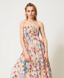 Robe-jupe avec imprimé floral Imprimé Fleur Grande Rose «Fuchsia Pink» Femme 211LM2JFF-05