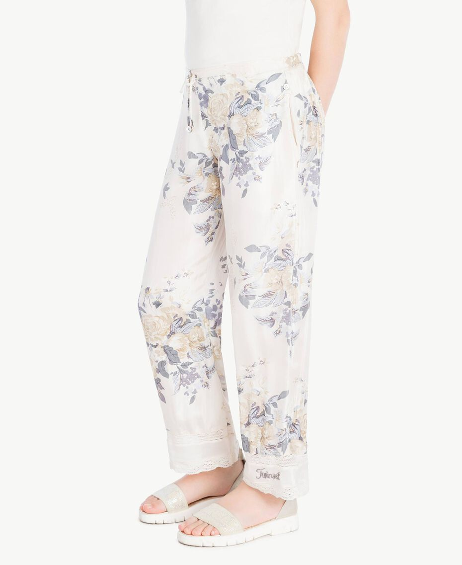 Flowers print trousers Flowers Print / Light Smoke Grey Child GS82E2-03