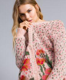 "Long floral and polka dot cardigan ""Pale Pink"" Flower Jacquard Woman TA83CB-04"
