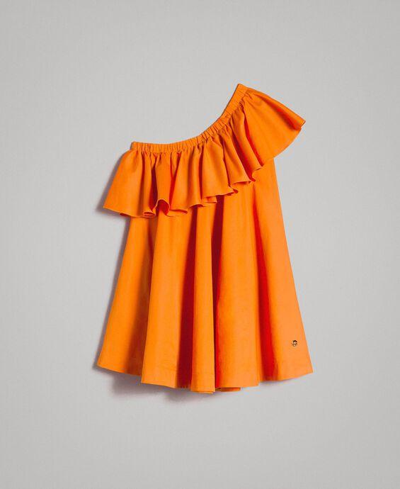One-shoulder stretch poplin dress