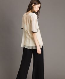 Crepon blouse with lace Ecrù Woman 191ST2201-03