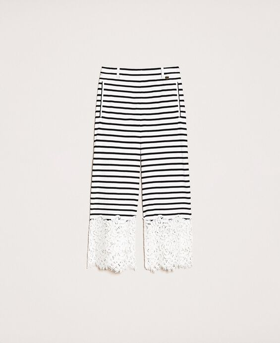Striped cropped trousers with lace