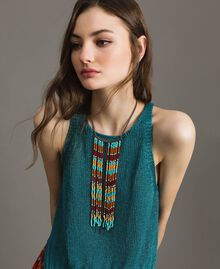 Choker necklace with chain fringes and beads Tile Blue Woman 191TO534B-0S