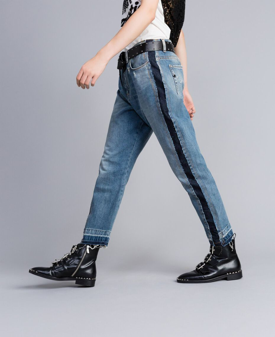 Denim jeans with side panels Denim Blue Woman JA82ZC-02