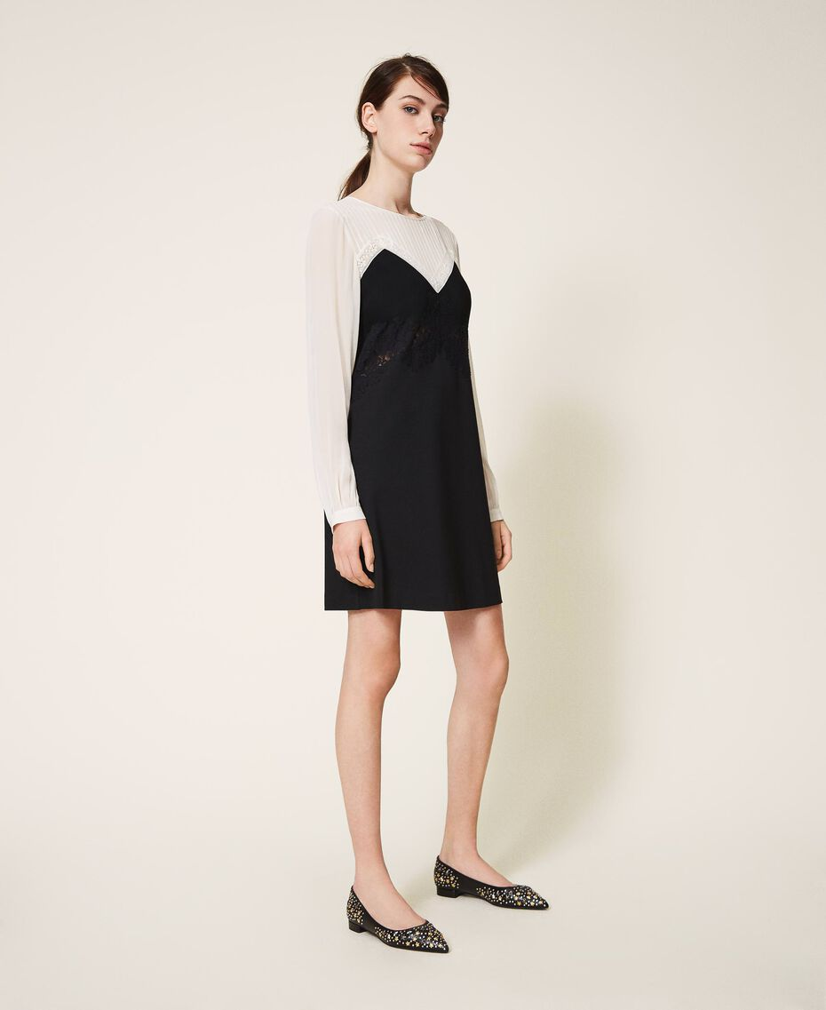 Two-tone dress with lace Two-tone Cream White / Black Woman 202TP2311-02