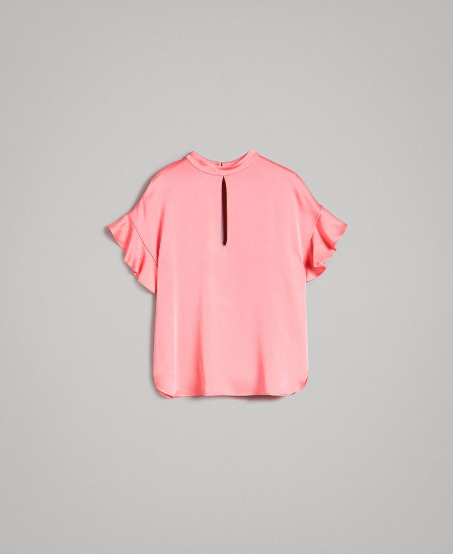 """Bluse mit Tropfenverschluss """"Wild Rose"""" Pink Frau 191TP2694-0S"""