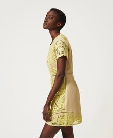 "Dress with broderie anglaise ""LED"" Yellow / ""Cuban Sand"" Brown Woman 211TT2090-01"
