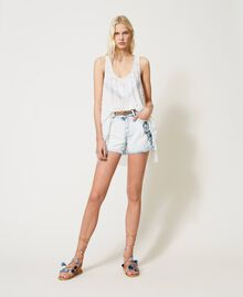 """Denim shorts with patch embroideries Embroidered """"Beach"""" Blue Woman 211TT243A-0T"""