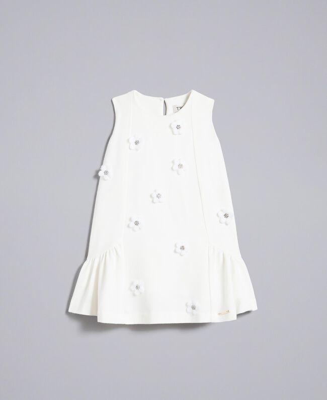 Kleid aus Krepp mit Blumen und Strass Mattweiß Kind FA82DN-01