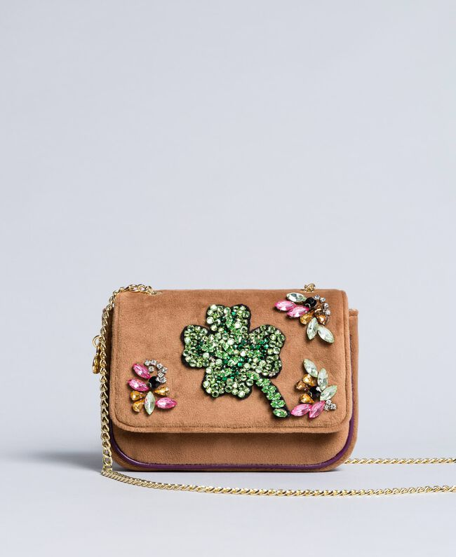 Velvet shoulder bag with embroidery and rhinestones Camel Woman AA8PBN-01