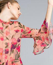 "Kleid aus Chiffon mit Blumenprint Print ""Rosa Tulpe"" Frau TA825R-04"