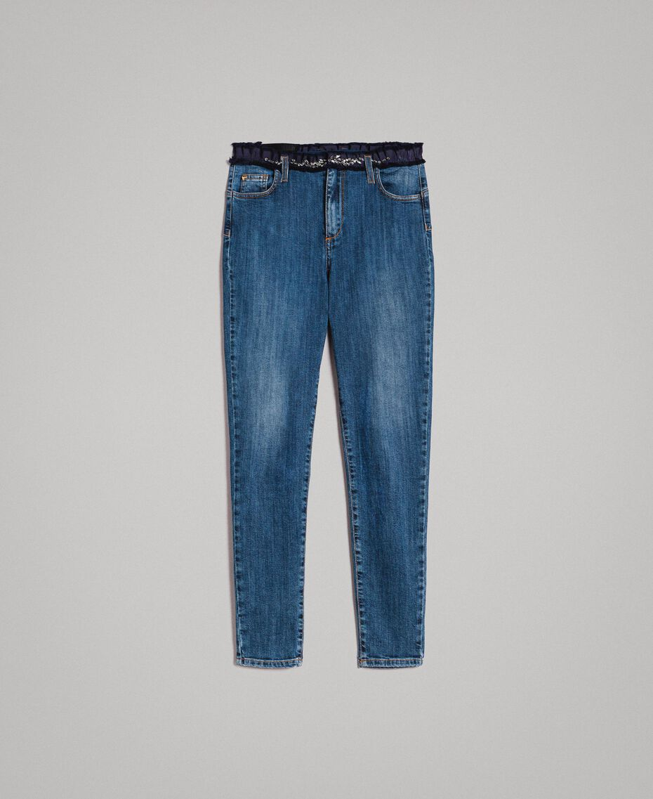 Grosgrain bestickte Skinny Jeans Denimblau Frau 191MP2483-0S
