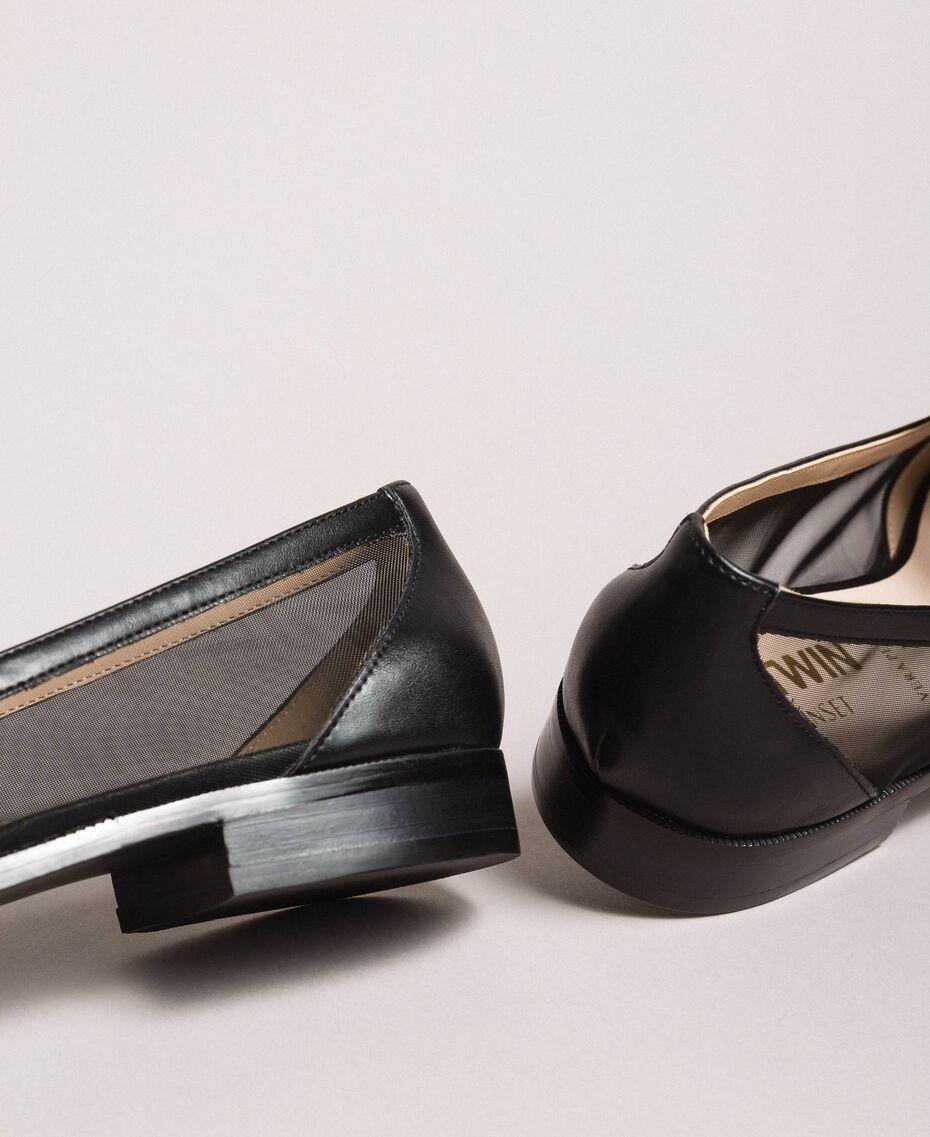 Mocassins en similicuir et filet Noir Femme 191MCP092-03