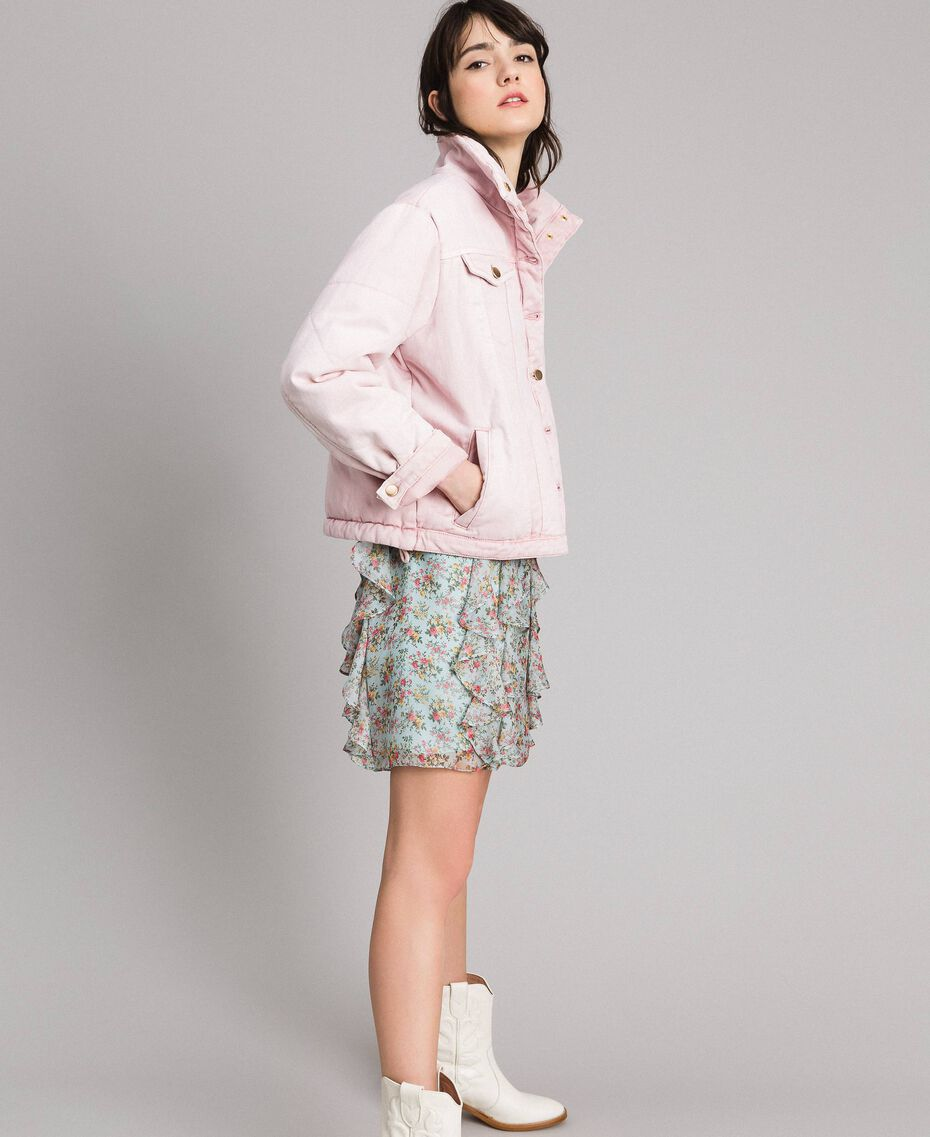 Padded denim jacket Pink Pearl Woman 191TP2340-02