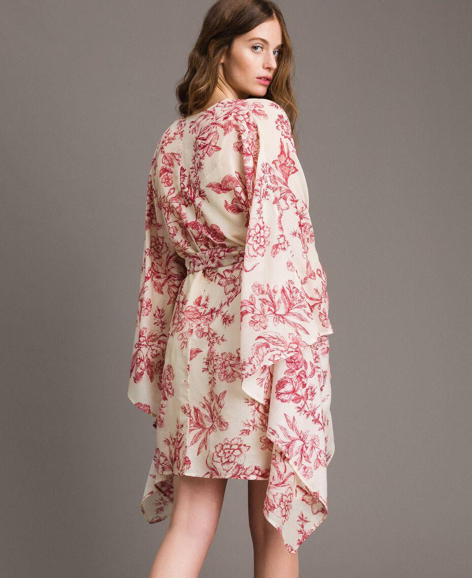 Kimonokleid aus Seidenmischung Motiv Toile De Jouy Rot Frau 191TT2406-03