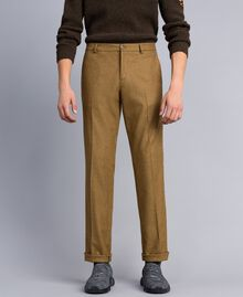Pantalon en flanelle Marron «Toffee» Chiné Homme UA82C1-03