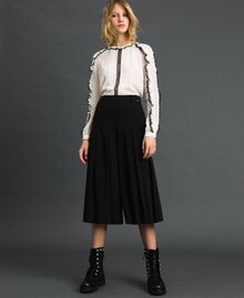 "Georgette blouse with micro frill and lace Bicolour ""Snow"" White / Black Woman 192TP2571-02"