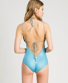 Shiny fabric one-piece swimsuit Daylight Blue Woman 191LMMC00-03