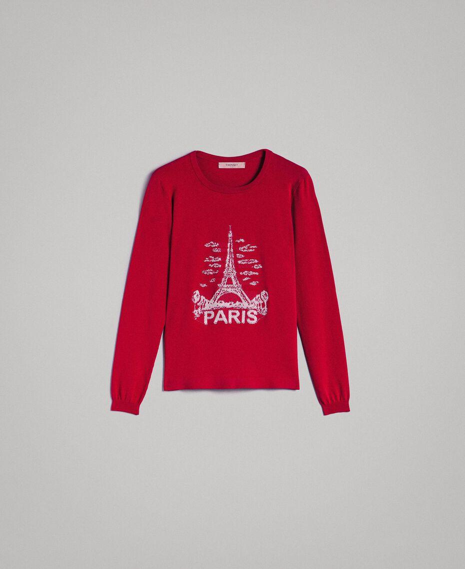"""Pullover mit Paris-Intarsie """"Anemonen""""-Fuchsia Frau 191TP3381-0S"""