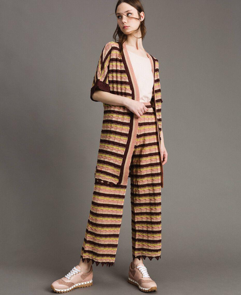 """Pantalon palazzo rayé en lurex Multicolore Marron """"Poudre De Bronze"""" Femme 191LB3AEE-02"""