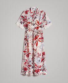 Long floral print georgette dress Exotic Ecru Print Woman 191ST2224-0S