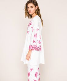 Kaftan with two-tone embroidery Two-tone Shocking Pink / Optical White Woman 201LM2NBB-03