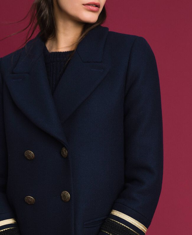 Double breasted wool cloth coat Midnight Blue Woman 192TT2161-04