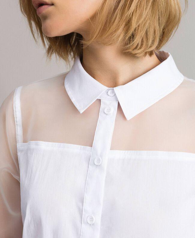 Organza und Popeline-Hemd Weiß Frau 191MT2301-04