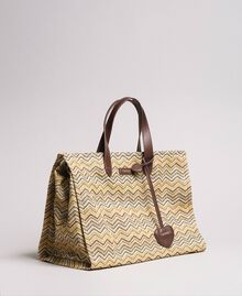 """Oversized straw-effect shopping bag Multicolour """"Milkyway"""" Beige / """"Petra Sandstone"""" Brown / Ivory Woman 191LM4ZCC-01"""