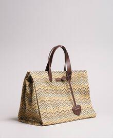 """Übergroße Einkaufstasche mit Stroh-Effekt Multicolour """"Milkyway"""" Beige / """"Petra Sandstone"""" Braun / Elfenbein Frau 191LM4ZCC-01"""